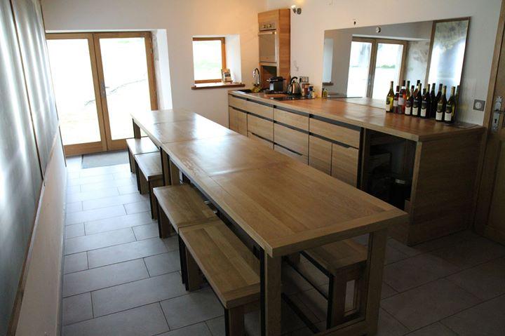 cuisine chêne massif bois métal fait maison